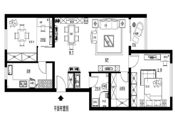 北京海淀区-三室两厅两卫-平面布置图
