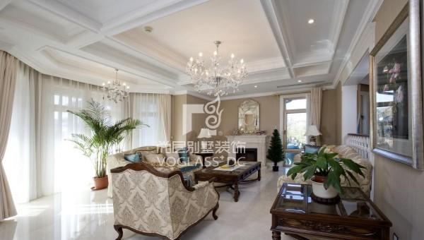 保利垄上优雅温馨美式田园风格别墅设装修设计方案案例