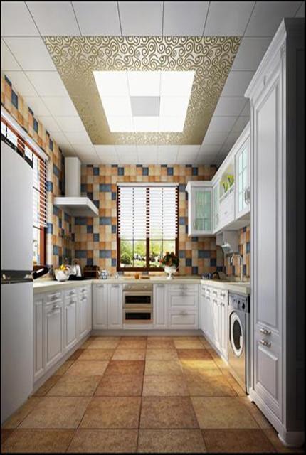 墙面采用了多种颜色混拼的小尺寸瓷砖,结合白色系橱柜,体现出浓烈的生活气息
