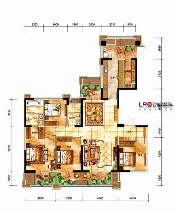 中海城南华府一期D户型4室2厅2卫4厨户型图