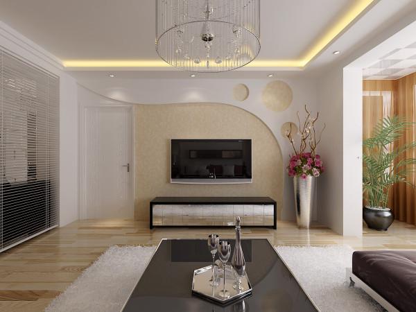 现代简约--客厅电视背景墙设计效果