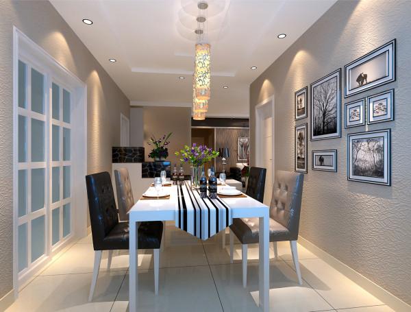 厨房门摒弃了传统的封闭式的木门,选用白色玻璃推拉门,增强了空间感;长方形餐桌配上软包椅子,显得很有档次和品味。墙壁悬挂黑白色调的壁画,给空间增添了艺术感和温馨感。