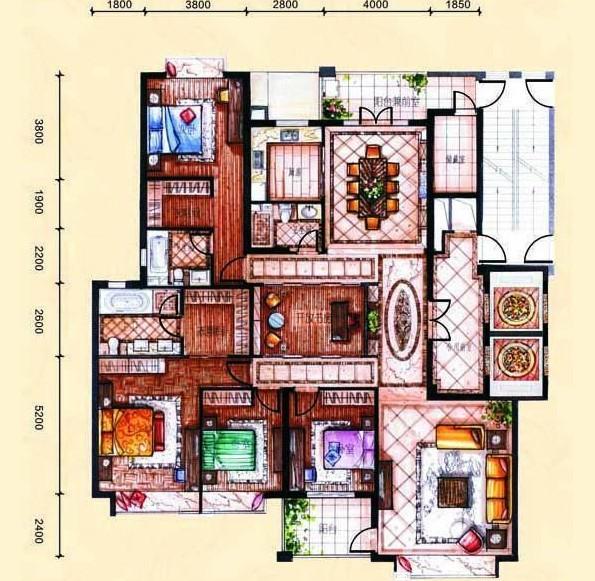 广电兰亭珑府248平四居室现代中式混搭时尚