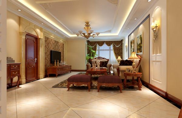 客厅的设计电视背景墙采用壁纸搭配欧式石膏板造型,简单大方。棕色花纹底蕴与米黄色做搭配,是室内更加温馨。家具选择方面以简约的欧式家具为主,与整体色彩完美融合,简欧典范十足。