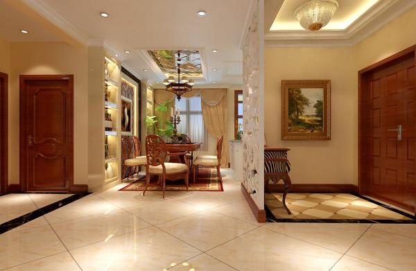 餐厅地面铺上了一层暗红色带花纹的地毯,地毯的舒适脚感和典雅的独特质地与西式家具的搭配相得益彰,使餐厅的那种奢华、档次和品位毫无保留地流淌。