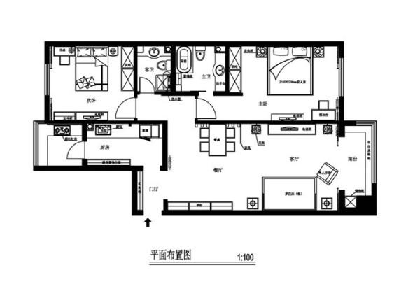 北京德外F1居处120平米原始户型图