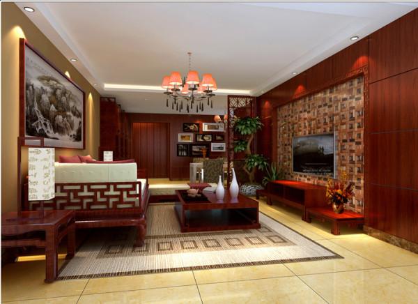 改造后的电视背景墙用木质马赛克作为装饰,与红木色墙面装饰面板形成反差,餐厅与客厅呈对角摆放状态,打破了空间视觉的呆板,木质隔断既起到了空间划分的作用又保持了通透性