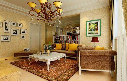 整体色调以暖色调为主,墙面采用浅黄色欧式花纹壁纸。
