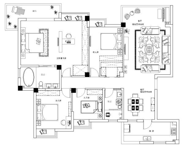 设计师将此空间共分为五个主要空间既是:大厅、餐厅、卧室、书房以及休闲棋牌茶室。在现代快节奏的生活中,新古典主义风格装饰不仅仅提高了人们高品质的生活环境水平,更给繁忙的社会生活增添了几许清闲。