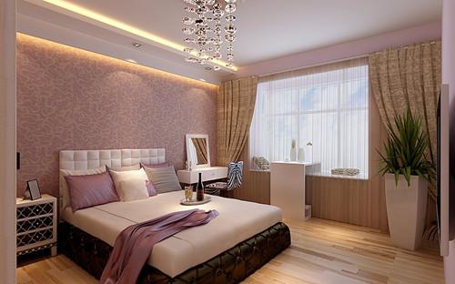 整个卧室配色较为深沉且温暖,在窗边增设的梳妆台满足女主人的日常打扮。一款经典的暖色卧室,粉色与米黄色的经典配色,简单却没有任何单调的感觉,窗帘与绿色盆栽的相互映衬,成为整间卧室的亮点。