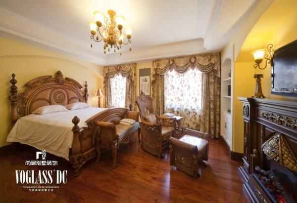 天恒别墅山 310平米 美式乡村风格 卧室设计