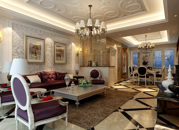 """主体的家具造型改良了欧式繁复的线条,黑色高光和银箔漆饰面的运用则尽显奢华气质,仿古的欧式家具和壁炉又增加了些许怀旧的情怀,""""高贵、浪漫"""",是此时此刻的唯一感受。"""