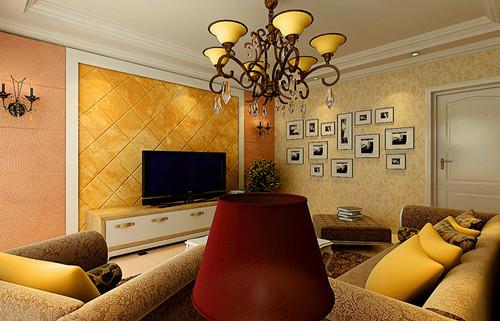 电视背景墙以石膏线造型,斜拼方式铺贴方砖,充分体现出主人对前卫设计与舒适生活的感悟。