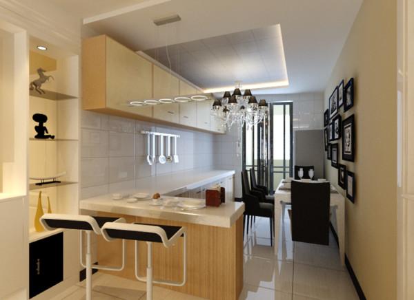 餐桌墙面选用暖色乳胶漆,搭配带灯槽的防水石膏板造型,浑然天成。