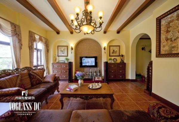 天恒别墅山 310平米 美式乡村风格客厅设计