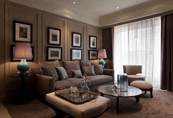 会展誉景69平米正规一居,新古典风格装修设计案例——客厅