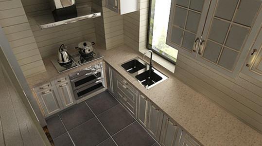 以米黄色为主要色调的厨房,看上去干净整洁,一侧的红色橱柜的衬托,让厨房显得不那么单调。