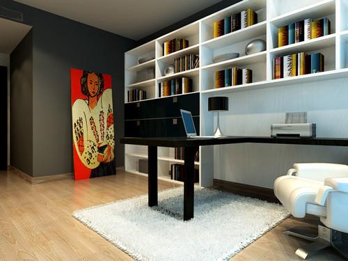 不论客厅还是书房,总是简单的几套家居,白色书柜与灰色墙壁旁的那幅红色油画,让简简单单的书房顿生升级,红色一直代表热情,在冷色调的空间里,犹如迸发的火花,同时也体现出此大胆与奔放的设计。