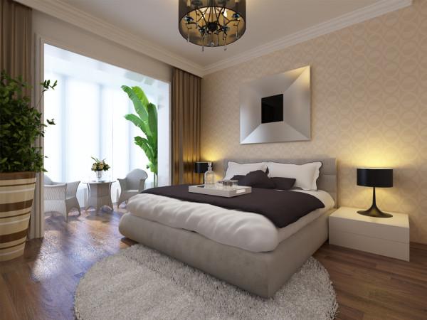 现代简约风格的卧室,木质地板搭配纯白色的空间装饰,在舒适度上提高许多