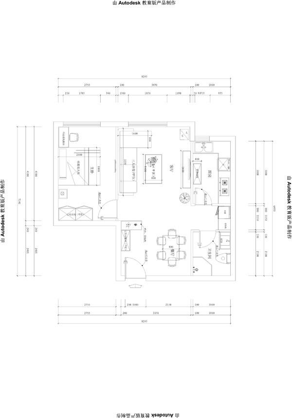 会展誉景69平米正规一居,新古典风格装修设计案例——平面布置图