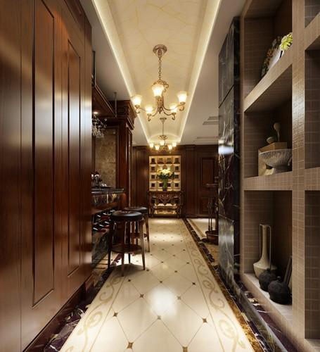 用小砖砌成走廊的展示架,吧台的设置给人以自然舒适的感觉,现代而又古典的气质。