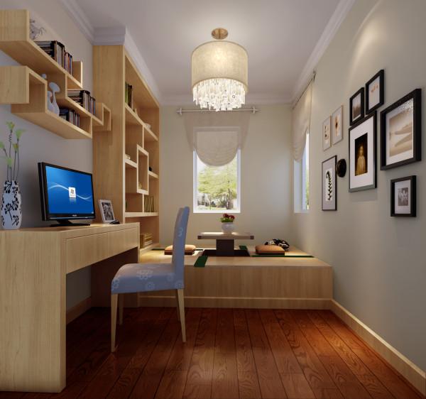 书房装修设计的的风格主要利用榻榻米,简单有条理的线感