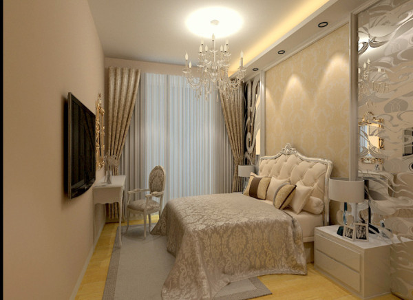 床头背景墙采用壁纸搭配雕花玻璃,奢华至极,米黄色乳胶漆让你安心入眠图片