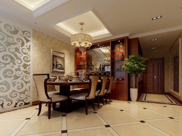 造型简洁明朗的餐厅背景,白色木质雕花在成熟中衬托一种调皮,与墙面镜子完美结合,延伸奢华空间。酒柜与餐桌简单结合,浪漫随处可见。简单的地砖拼花,其光泽感让古典更具时代感。