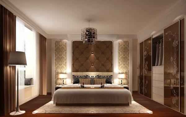 主卧室利用混搭的风格,墙壁与衣柜的花案,吊饰灯让室内整体优雅高贵有情调