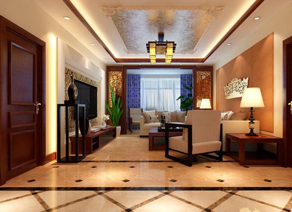 亮点:,客厅的设计采用木线收口的石膏边顶,带来了客厅的方正感,以及顶面定制石膏线加以祥云造型收口,增加了居室的生活气息。电视墙壁纸与沙发背景墙软包呼应的相得益彰,整体典雅而不落俗。