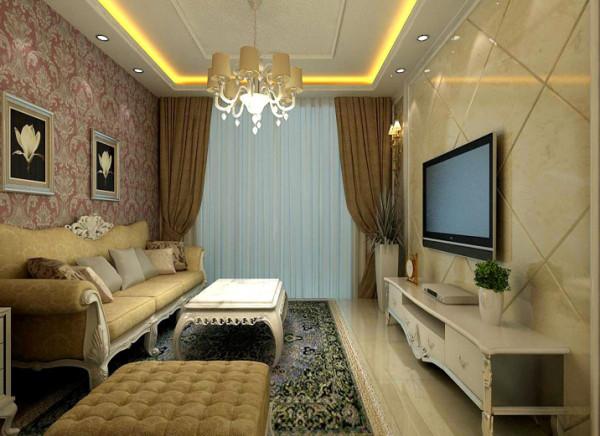简洁大气。微晶石斜铺打造奢华影视墙,大马士革壁纸华贵不失温馨。