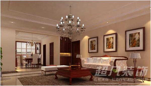 客厅墙面以带有古典图案的皮纹花砖和地面的波光砖的结合运用,增加空间的质感,清爽干净中又有浪漫柔和的氛围。