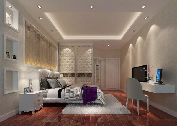 名雕装饰设计——卧室:主卧床头以水扇珠帘映衬灯光,细细品味,如一道菜,淡而香。发挥结构本身的形式美,造型简洁,宽敞明亮。