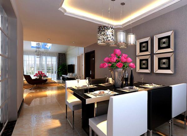 设计理念:黑与白是空间的主色调,设计师让白色线板铺排与墙面,辅以黑白相间的精致餐椅,空间洋溢着现代,时尚气息。