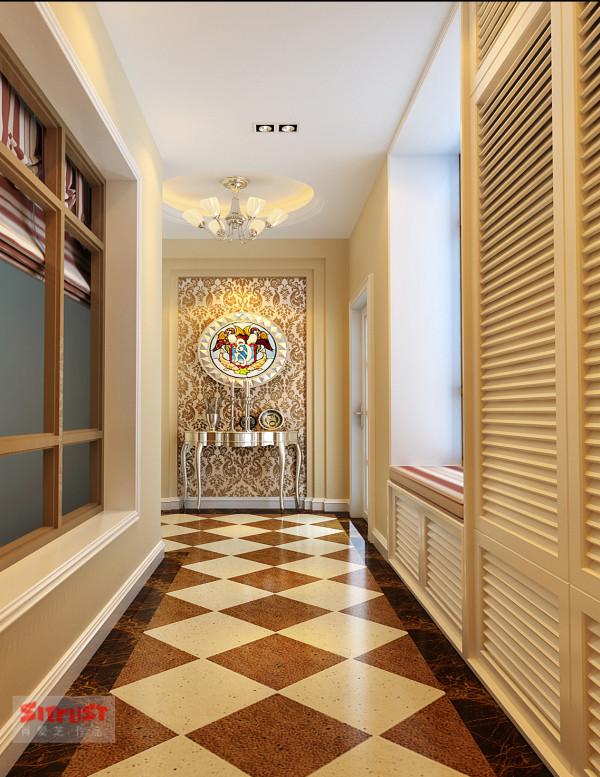客厅过道地面菱形个性化铺砖,透漏着欧式的大气;墙面格栅式的壁柜,一方面利用了空间,其次增添了美感