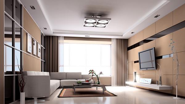 同色系的电视墙、地砖、地毯,对称大气的灯饰,高雅庄重的电视柜,时髦简约的茶几,都把简约展示的酣畅淋漓。枝条形状的配饰与灯具更使得整个空间都活泼了起来,展示了空间的厚重与轻灵。