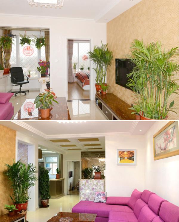客厅电视墙运用有机理的暖色系壁纸,后期配上绿色的植物,体现层次感。