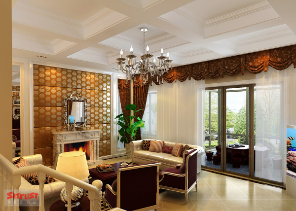 客厅正面图,典型欧式家具的搭配,整个空间和谐相得益彰,充满美感。
