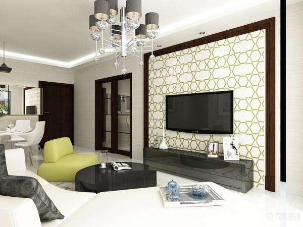 电视背景墙用壁纸装饰,成为空间抢眼的一处风景