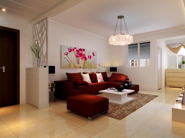 沙发背景墙则用亮色的装饰画点缀整体,干净而温馨感尽显其中,在客厅与外界之间做了白色的隔断,镂空的设计,阻隔了空间但在视线上却保持了通透,很有雅致感。