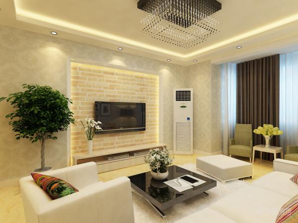 电视背景墙用壁纸进行装饰,增加亮点。