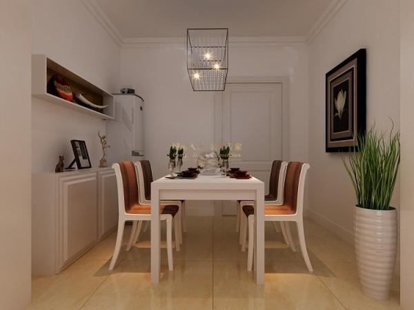 白色的设计延续到了餐厅内的空间,让整个空间都保持了一种清灵感,舒适的桌椅与精巧的置物柜,便填充了这一空间,没有一丝侵染。