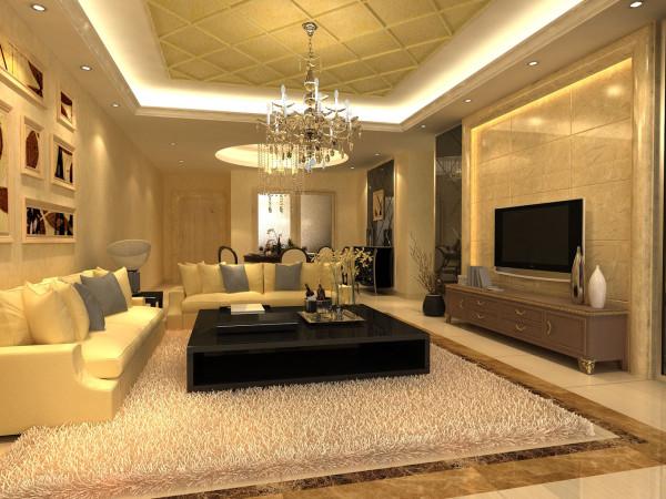客厅在个别地方用了较深的颜色,刚好与室内大片的米黄色系构成对比,既让室内突出了重点,又可以让室内不显单调,加强了室内的和谐感。