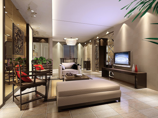门厅与客厅连接衣用帽柜与绿植台柜巧妙结合,沙发的后面镜面及镂空造型,会显得比较温馨,更有张力,电视墙那面色调以暖色调为主,细致清新。
