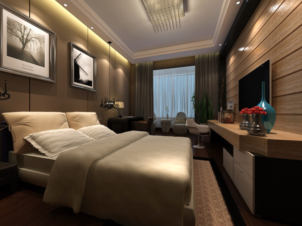 卧室是放松神经,休息的最重要环节,在卧室的设计上,此采用和大环境一样的暖色调来烘托对应。木色的家居,木色的电视桌木色的床头背景墙,整体空间层次分明,温馨淡雅。