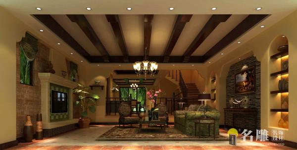 名雕装饰设计——客厅:设计简洁明,装修上采用仿古墙地砖、石材和仿旧工艺;软装摆件上采用仿古艺术品,使得整个空间宽敞而富有历史气息。