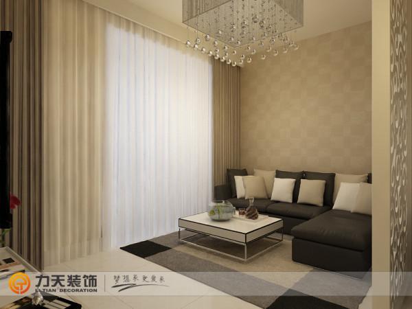 颜色统一整个客厅满铺具有典雅的浅咖色乳胶漆