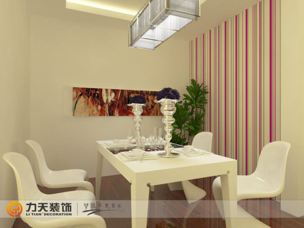 餐厅背景墙是用挂画作为装饰