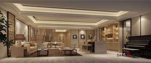 名雕丹迪设计——地下室休息区:天花运用黑色镜钢勾勒出简洁的富有层次的轮廓。似有形,又似无边。