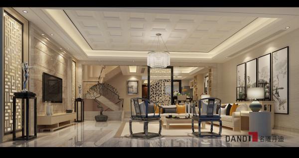 名雕丹迪设计——客厅::简洁的万字屏风,写意的水墨画,结合浅色的材质祥云描银的图案点缀房门,既时尚又韵含着吉祥。现代中式细品有味,越藏越淳。